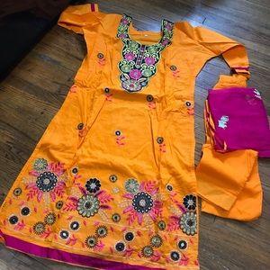 Dresses & Skirts - Orange and pink salwar Kameez
